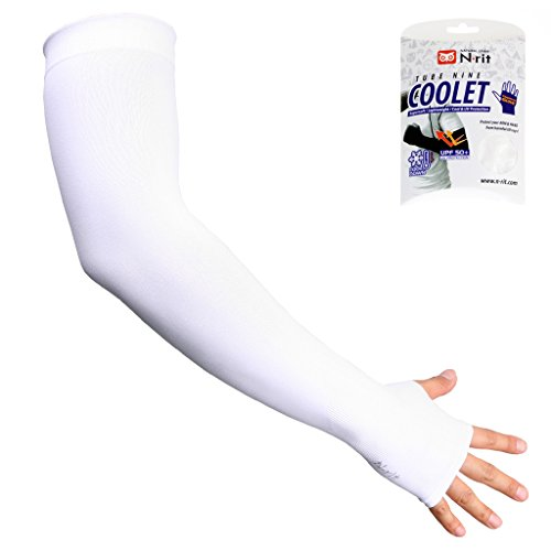 N-rit kühlende Arm-Stulpen mit Cool-X Technologie & UV-Schutz, atmungsaktiv, schnelltrocknend mit spürbarem Kühleffekt (Weiß)