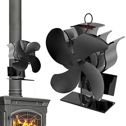 Ventilador estufa leña, Ventiladores para Chimeneascon Barra de Temperatura, Ventilador de 4 Aspas para Estufa de Leña/Estufas de Pellets/Chimeneas de Leña /Estufas de Gas
