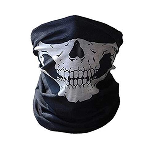 WOO LANDO Sport Masken Skelett Gesichtsmaske Kopftuch Stirnband Fahrrad Motorrad Ski Kopfhaube Balaclava Schlitz schwarz Skull Totenkopf Maske Totenkopf Skull Face (Weiß)