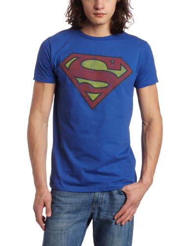Bioworld Men's Superman Logo Tee, Royal Blue, Large
