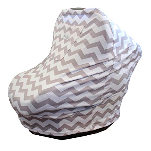 Poc-a-roo Best Breastfeeding Cover, with Pocket! Canopy Car Seat Cover, High Chair, Shopping Cart, Stroller Cover for Boys or Girls. Best Nursing Cover Up. Grey White Chevron