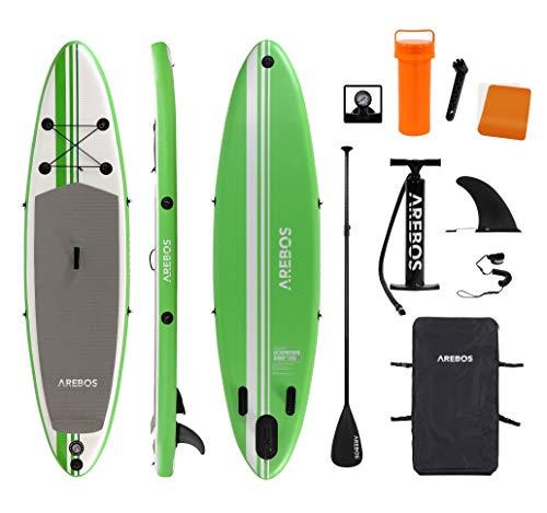 Arebos SUP Board | Stand up Paddling | Surfboard | 320x76x15cm | aufblasbar | Single-Layer | Alu-Paddel | Hochdruck-Pumpe | Transportrucksack | 115kg Tragkraft | Grün