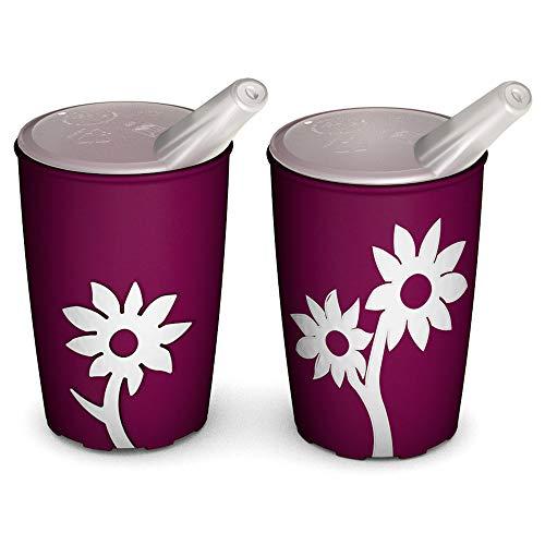 Ornamin Becher mit Anti-Rutsch Blume 220 ml brombeer/weiß und Schnabelaufsatz 2er-Set (Modell 820 + 806) / Schnabelbecher, Trinkbecher, Kinderbecher