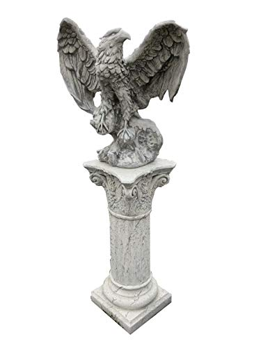 Antikes Wohndesign Adler mit Standsäule Greifvogel Falke Steinadler Grau Patina Höhe: 132cm