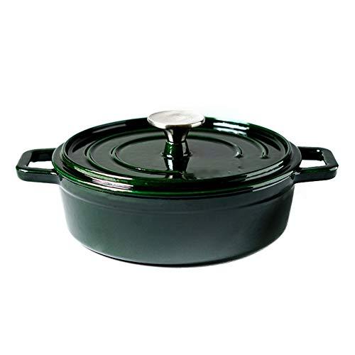 Casserole peu profonde en fonte émaillée de 22 cm, 珐 cook marmite en fonte à fruits de mer marmite à soupe non recouverte, utilisée pour la cuisson à la vapeur, la rôtissage, la cuisson lente