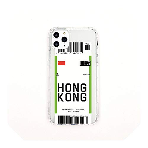 New York Seoul London Fashion Label Bar Code Cover For Samsung S10 5G Plus S9 S8 Note 10 3D Clear Air Tickets City Cover-Hong Kong-For Samsung S10Plus