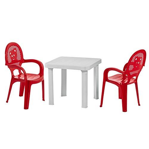 resol para niños sillas de jardín plástico para jardín y Exteriores y Juego de Mesa - Rojo sillas, Blanca - Muebles para niños (Unidades 2 sillas y 1 Mesa)