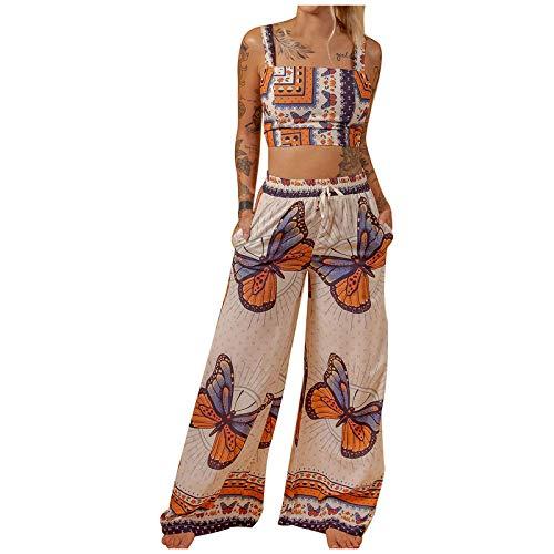 Women Boho Style Outfits Summer Tank Top + Long Pants 2PCS Set Lady Casual Suits