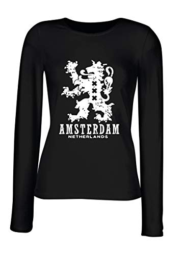 T-Shirt para Las Mujeres Manga Larga Negra TSTEM0222 Amsterdam Netherlands