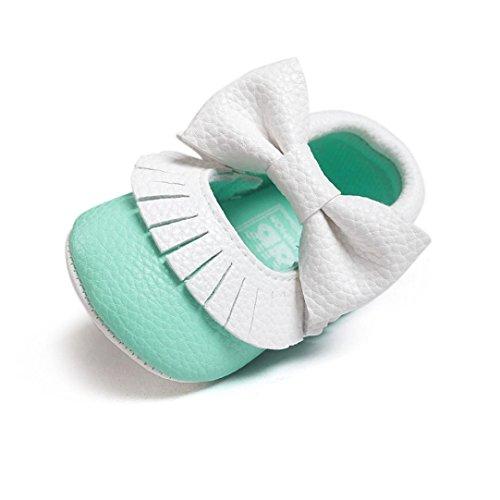 kingko® bébé bowknot Glands fille garçon Sneakers Chaussures Toddler souple Sole Souliers (6~12 Mois, Menthe verte)