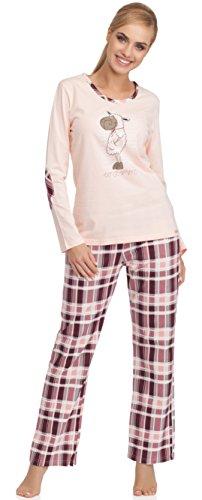 Cornette Damen Schlafanzug Warm (Hellrosa/Dunkelrot, 40 (Herstellergröße: L))