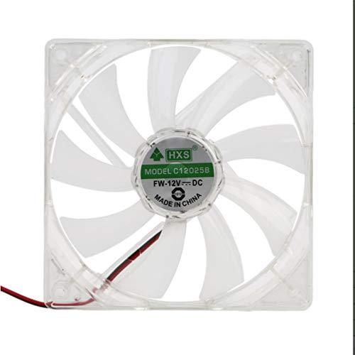 Ventilador de computadora para PC Quad 4 luz LED 120Mm Caja de computadora para PC Ventilador de enfriamiento Mod Silencioso Conector Molex Ventilador de fácil instalación 12V (Luz verde transparente)