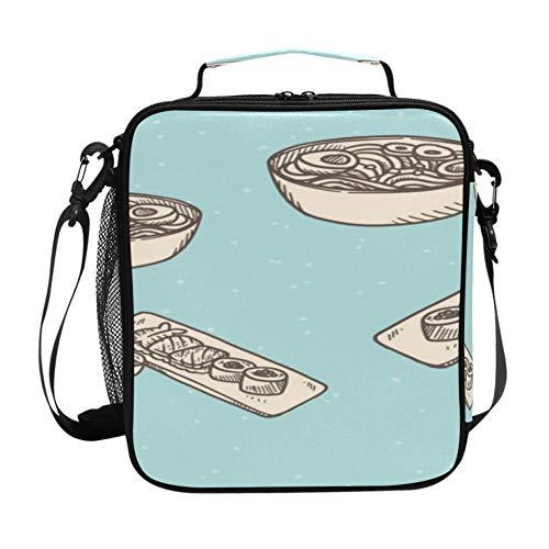 Bolsa de almuerzo y nevera para hombres Moda creativa Cartoo Cocina Wok Fiambrera para adolescentes con correa de hombro ajustable y múltiples bolsillos Bolsa de almuerzo para muje