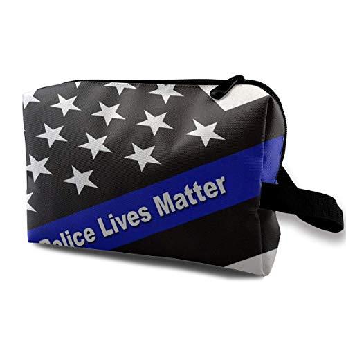 Ligne mince drapeau ligne de police vie importe petits sacs à cosmétiques voyage sac de maquillage à la mode organisateur