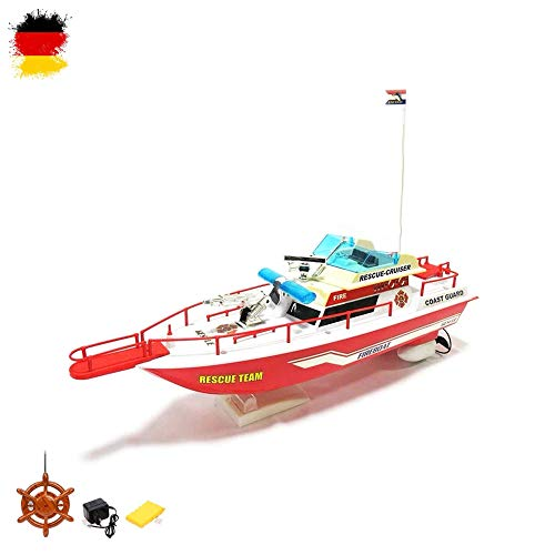 HSP Himoto RC ferngesteuertes Boot Feuerwehr Schiff Küstenwache, Komplett-Set inkl. Akku und Fernsteuerung