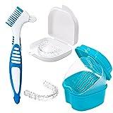 PHIEZC Caja de almacenamiento de dentaduras postizas,Caja de limpieza de aparatos de ortodoncia,caja de dentaduras postizas con cesta de limpieza,para limpiar aparatos ortopédicos(Azul y blanco)