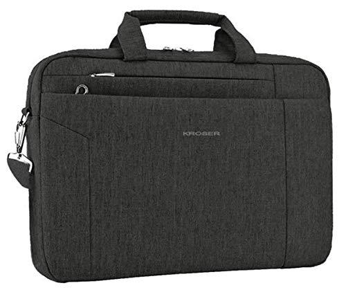 KROSER Laptop Tasche 15.6 Zoll Notebooktasche Aktentasche Tablet Tasche Schulter Umhängetasche Wasserabweisend Satchel Bussiness Laptoptasche für Frauen & Männer-Schwarz MEHRWEG