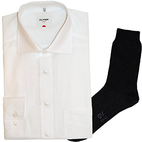 OLYMP Hemd Luxor Comfort Fit - Langarm, Haifisch, weiß + 1 Paar hochwertige Socken, B&le