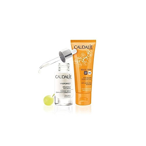 CAUDALIE Vinoperfect Sérum Resplandor Antimanchas 30ML + CAUDALIE Soleil Divin. Tratamiento Solar Facial FPS50 40Ml.