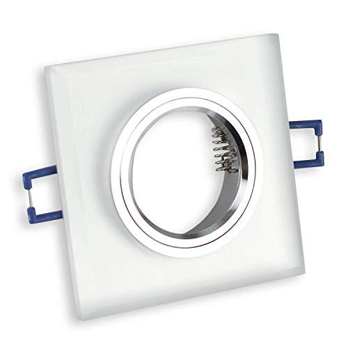 6x inbouwframeset van glas voor GU10 MR16 - geschikt voor LED- en halogeenlampen, hoogwaardige afwerking - Ø60-70mm boorgat, frame in elegante look in glasoptiek | mat - hoekig