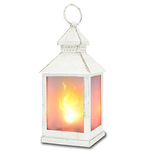 zkee 11' Vintage Style Decorative Lantern,Flame Effect LED Lantern,(White,4 Hours Timer), Indoor...