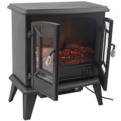 Classic Fire Narvik Elektrokamin mit Heizlüfter und Kaminfeuer Effekt-1800W, Schwarz, 58 x 51 x 28 cm