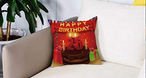Mingdao Home Decor Sofa Werfen Kissenbezüge,25. Geburtstag Dekorationen, dreieckige Fahnen präsentiert Boxen Konfetti Regen auf Tisch bunt, Mehrfarbig,Kissen Cover Square Pillowcase