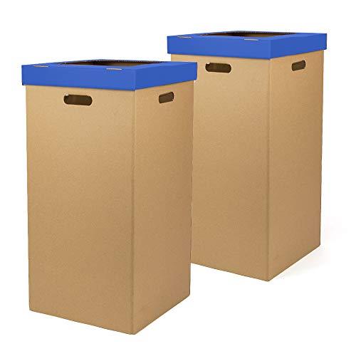 Kartox | Papelera de Cartón | Papelera con tapa | Color azul | Dimensiones 34,2 x 34,2 x 68 cm | Pack de 2 unidades