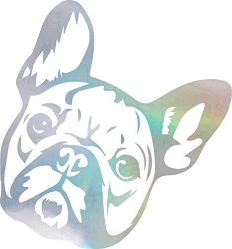 NBFU DECALS French Bulldog Cute Face 1 (Hologram) (Set of 2) Premium Waterproof Vinyl Decal Stickers for Laptop Phone Accessory Helmet Car Window Bumper Mug Tuber Cup Door Wall Decoration
