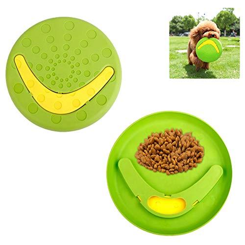 ASOCEA Interaktives Hunde-Kauspielzeug für kleine und mittelgroße Hunde, abnehmbarer Frisbee-Boomerang und Futternapf, Grün