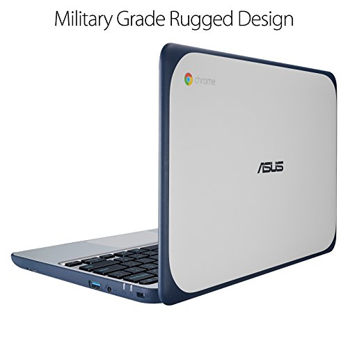 ASUS Chromebook C202SA-YS02 11.6' Ruggedized and Water Resistant Design with 180 Degree (Intel Celeron 4 GB, 16GB eMMC, Dark Blue, Silver)