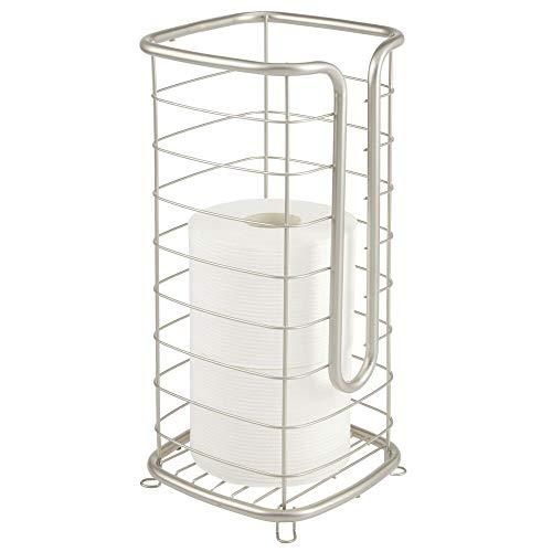 mDesign Toilettenpapierhalter frei stehend – moderner Papierrollenhalter fürs Badezimmer – Klopapierhalter mit Halterung für 3 große Reserverollen – mattsilberfarben