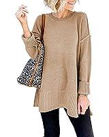 VTSGN Women's Crewneck Sweater Long Sleeve Side Slit Loose Knit Pullover Jumper Tunic Tops Khaki