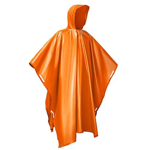 Ahsado Regenponcho, 3-in-1 Multifunktionales Regencape zum Camping Wandern für Erwachsene, Männer/Frauen-helles Orange