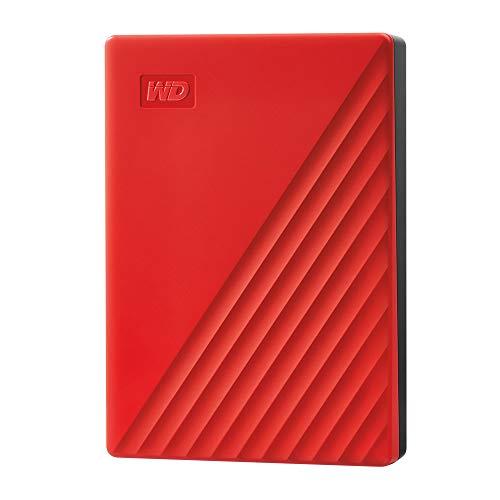 WD My Passport disco duro portátil 2TB con protección con contraseña y software de copia de seguridad automática, Rojo, Compatible con PC, Xbox y PS4