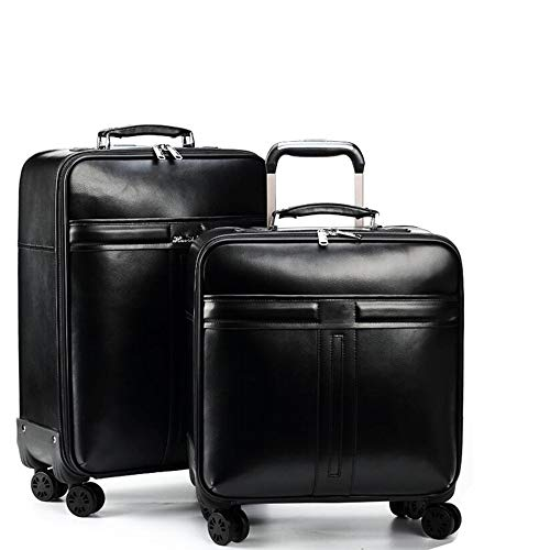 Best Deals! Iddefee Suitcases Two Pieces 16 Inch 22 Inch Leather Luggage Suitcase Set Portable Carry...