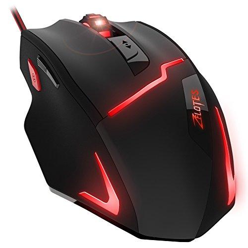 DLAND FPS Spiel Gamer Maus, [7200DPI Hohe Präzision],[Feuer-Taste],[LED-Atem-Licht], ZELOTES Ergonomisch Verkabelt Optische Computer Mäuse Für PC/Laptop/Schreibtisch/Mac