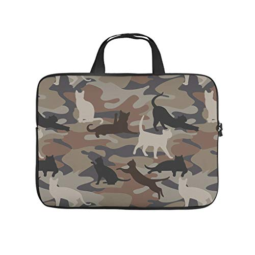 Camouflage Cat Laptop Tote Bag Multifunctional Carry On Handle Case for Notebook/MacBook/Ultrabook/Chromebook White 13 Zoll