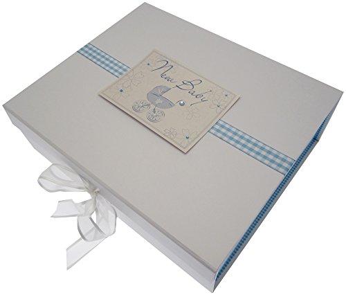 White Cotton Cards Grande boîte souvenir de naissance Landau (Bleu)