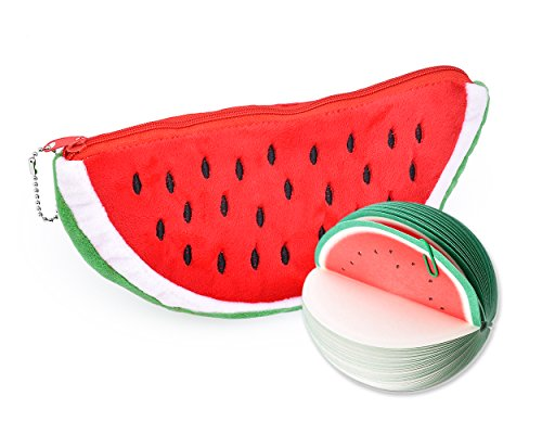 DS. DISTINCTIVE STYLE Stationery Set with Watermelon Shape Large Pencil Zipper Case Pencil Bag Sketch Pad Note Pad for Kids