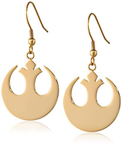 Star Wars Jewelry Rebel Alliance Pendientes colgantes de acero inoxidable IP de oro (SALES1SWMD)
