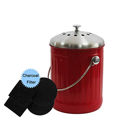 4W Compost Bin for Kitchen Counter, 1.3 Gallon Compost Bin with Stainless Steel Lid for Indoor Composting Odor Absorbing Leak Proof - Includes 4 Charcoal Filters (Red)