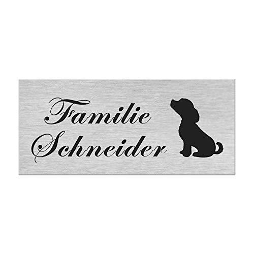 Motiv Edelstahl Briefkastenschild I über 40 Motive zur Auswahl I Klingelschild mit Gravur I Türschild in 100x40mm I Namensschild Selbstklebend - Hund