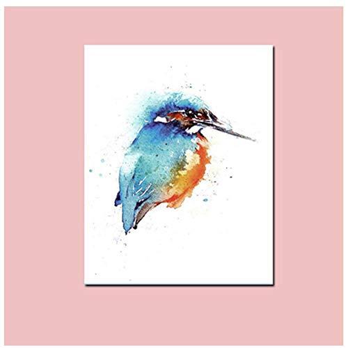 Druk samenvatting aquarel papegaai vogel op takken schilderij op canvas kunst dier wandschilderij voor woonkamer decoratie (40 x 60 cm zonder lijst)