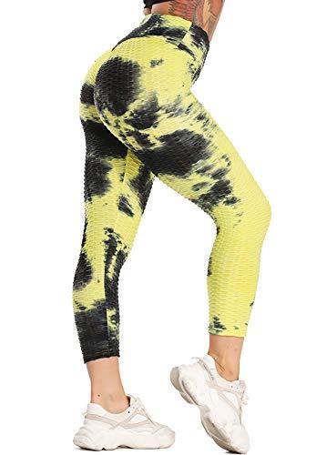 STARBILD Femmes 3/4 Legging de Sport Plissé Pantalon Court Pantacourt Push-up Fitness Musculation Sportswear, A-Jaune et Noir M