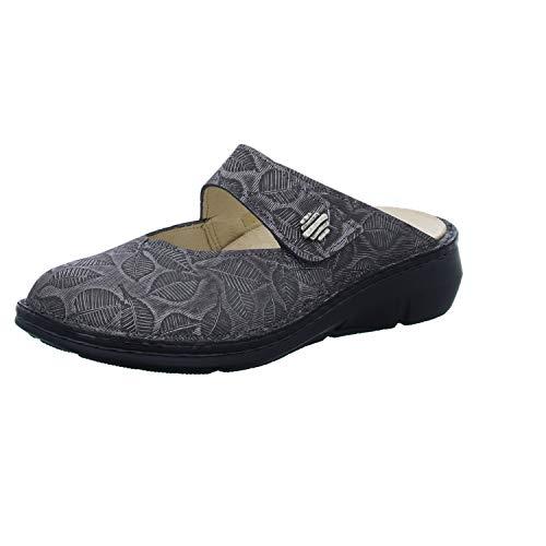 FinnComfort Damen Pantoletten Roseau Smoke (grau) - Clogs - Damenschuhe Pantolette/Zehentrenner, Grau, Leder (Leaves) Finn Comfort grau 417633
