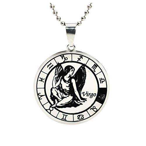 757 12 Constellation Necklace, Valentine's Day Commemorative Coin Necklace Astrology Crescent Glass Jewelry Pendant Gifts
