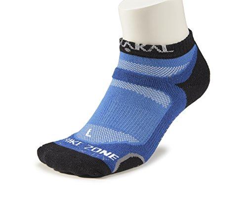 KARAKAL - Calcetines deportivos X4 Quad Density - 1 par - Medias de corte bajo - Transpirable, amortiguación con suela antideslizante - Adecuado para bádminton, squash, tenis, hockey, running, fitness, vida cotidiana, etc. - Mujeres y hombres - Azul / Negro