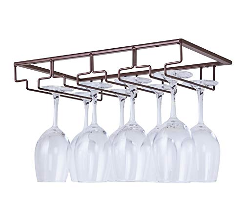 DEFWAY Wine Glass Rack - Under Cabinet Stemware Wine Glass Holder Glasses Storage Hanger Metal Organizer for Bar Kitchen Black