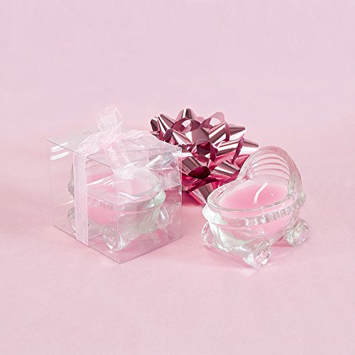 Lunaura Baby Keepsake - Set of 12'Girl' Glass Baby Stroller Scented Candle - Pink